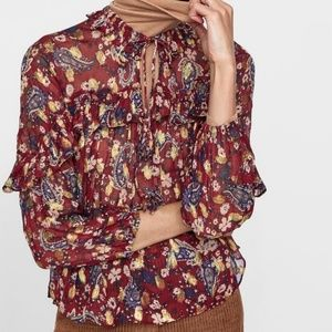 Zara premium collection blouse with tassels